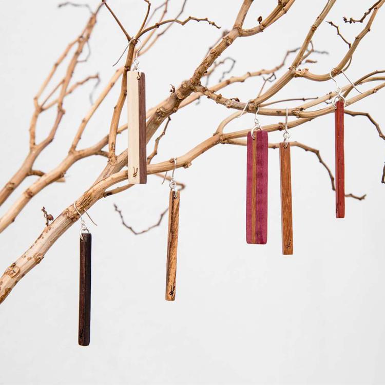 Χειροποίητα σκουλαρίκια DionandFelle από φυσικό ξύλο - Συλλογή Lines