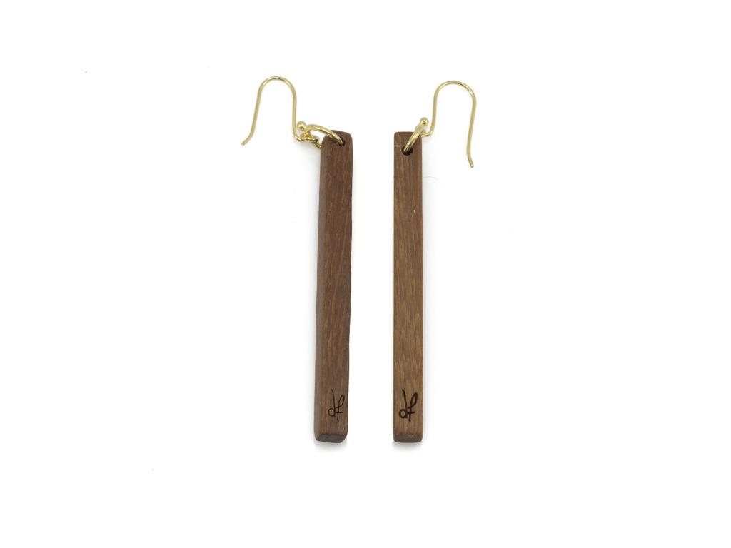 Σκουλαρίκια Lines από ξύλο Pau Rosa