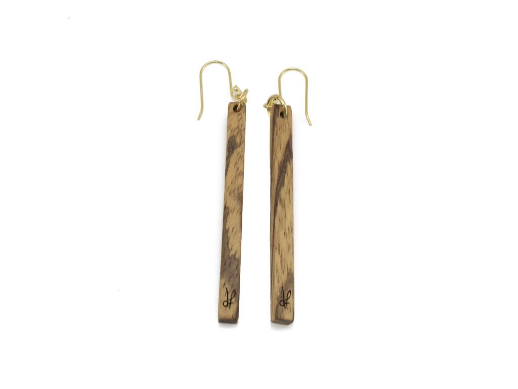 Σκουλαρίκια Lines από ξύλο Zebrano