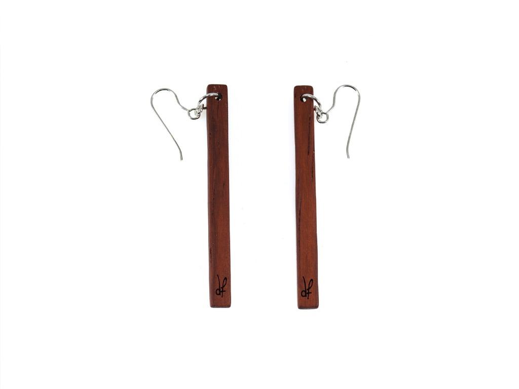 Σκουλαρίκια Lines από ξύλο Padauk